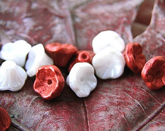 Christmas! mix 30 beads - bells antomne8 (2 different shades) mix gemstone - 7 mm in size