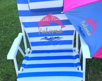 BEACH CHAIR, personalized beach chair w/ carry strap, removable spf umbrella, big kids, teen or adult, name chair, monogram chair