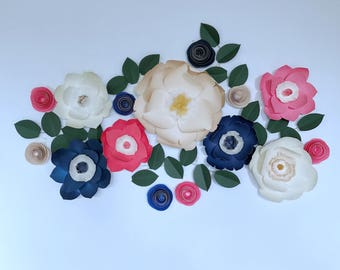 Navy blue decor paper flower wall blue giant paper flower navy blue backdrop wedding navy blue maternity shoot newborn navy blue flower prop