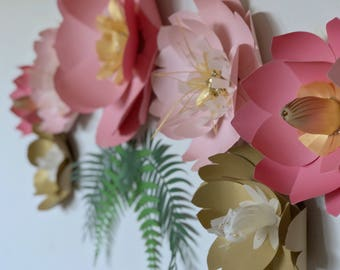 Coral pink nursery flower wall paper flower bedroom accent 3D wall art giant paper flower backdrop gold flower decor birthday party