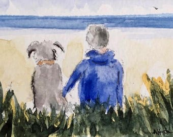 Figure and Dog ORIGINAL Miniature Watercolour 'Friends' ACEO, Best Friends, For him, For her, Home Decor, Wall Art, Gift Idea, Free Shipping