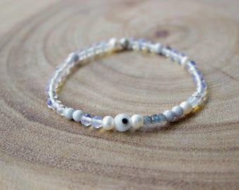 Evil Eye Bracelet  /4mm Evil Eye Beaded bracelet