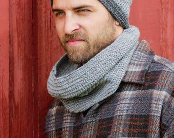 Crochet men's hat and neck warmer, wool hant, wool neck warmer, grey shades