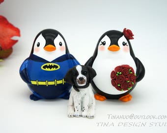 Batman Wedding Cake Toppers With A Dog-Penguin Family Wedding Cake Toppers-Superhero Wedding Cake Toppers With Pet