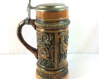Big Brown Gerz Vintage Beer Stein Beer Mug Jumbo Beer Stein Dragon Beer Stein Dragon Mug