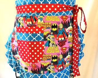 Reversible Women's Apron, Patriotic, Wonder Woman, Batgirl, Supergirl, Independence Day
