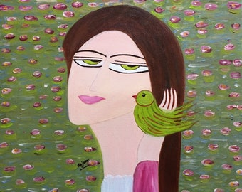 Girl with her parrot