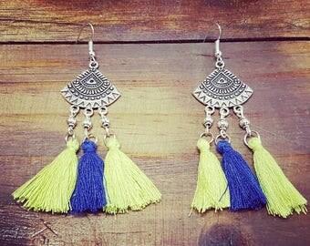 Aztec Blue Earrings
