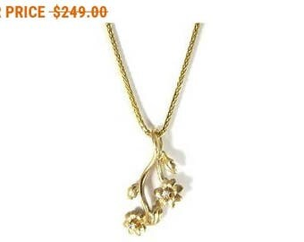 Sale For Labor Day!! Flowers branch 14K gold diamonds pendant