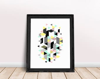 Geometric Triangles | Triangle Art Decor, Geometric 80s Art, Marble Decor Print, Triangle Abstract, Triangle Wall Art, Triangle Wall Decor