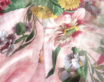 VALENTINO Original Vintage Designer Pink Floral Dog Tooth Striped Silk Scarf Headscarf Headband