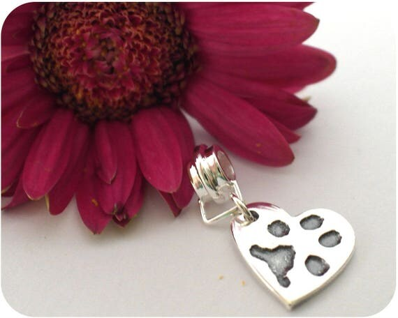Pet Paw Print Charm - Actual Print Captured in Silver - Keepsake Jewellery - Keepsake Charm