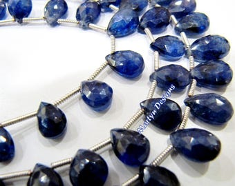 AAA Best Quality Genuine Blue Sapphire Briolette Beads 5x7 to 9x12mm , Natural Blue Sapphire Graduated Pear Shape Beads , Strand 8 inches.