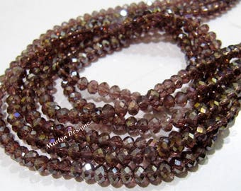 SALE- Rhodolite Garnet Color Hydro Quartz 4mm Beads , Mystic AB Coated Rondelle Faceted Beads , approx. 150 Beads per Strand , Jewelry Beads
