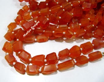 Genuine Carnelian Nugget Shape Beads , Natural Carnelian 7 to 9 mm Laser Cut Tumbled Beads , Sold per Strand 14 inches long , Gemstone Beads