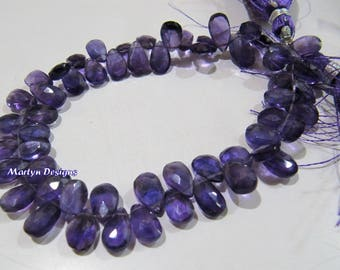 Best Quality African Amethyst Beads , Briolette Pear Shape Amethyst Beads , Side Drilled 6x9 to 7x12mm Flat Drop Beads , Strand 8 inch long.
