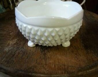 White milk glass bowl