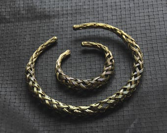 Bronze Or Silver Color Torc - Bracelet - Braided - Ethnic - Boho - Gypsy -Travel - Festival - Pixies - Fairy - Steampunk - Industrial - Chic