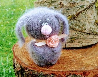 Crochet hand  knit sweet bunny RABBIT with flower - amigurumi eco lovely soft toy  - 11 cm tall - interior toy and Easter gift