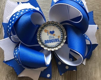 dodgers Hair bow, Dodgers Bow, Dodgers Hair Bows, dodgers, Dodgers Bow, Dodgers Inspired Hair Bow, Baseball Bows, Basesball Hair Bow, bows