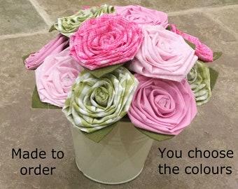 Cotton flowers, cotton bouquet, 2nd wedding anniversary, 2nd anniversary flowers, fabric flowers, flowers for mum, flowers gift, cotton gift