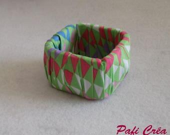 Multicolored pastel fabric stiff bracelet