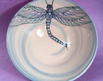 Ceramic Dragonfly Bowl, handmade and handpainted pottery by Nancy Hallmark Pottery