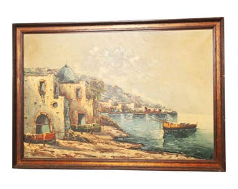 Large Framed Oil on Canvas Painting of European Seascape ~ wall art mediterranean unsigned hanging