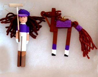 Polo Player Lady Clothes Pin Ornaments