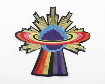Fancy Universe Embroidered Patch ,Colorful Universe Shaped Applique for Garment Accessories
