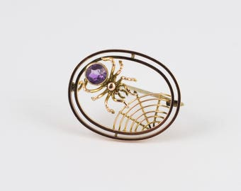 Antique Amethyst Spider & Web Brooch 9Ct Gold - victorian spider brooch, vintage amethyst brooch, vintage insect brooch, vintage jewellery