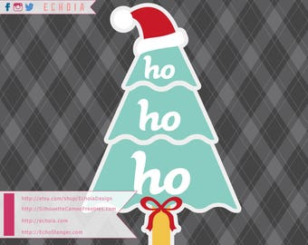 Ho Ho Ho Christmas Tree - SVG, PNG and DXF for Printing and Cutting