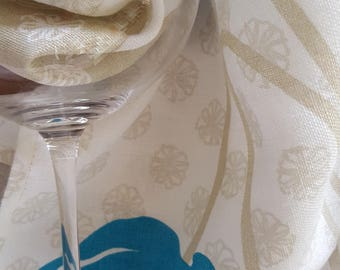 Linen Tea Towel, Poppies Tea Towel, Pure Linen, Birthday Gift, Linen Tea Towels, Linen Towels, Aqua, Poppies Flower, kitchen Linen, Blue,