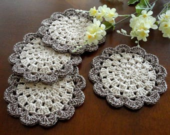 Crochet Coasters Coaster Placemat Table linens Kitchen Decor Gift Crochet Doilies Tablecloth Crochet Doily Round Cotton Table Home Decor