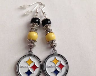 Black and Yellow Earrings, Pittsburgh Steelers Inspired Earrings, Steelers Inspired Earrings, Steelers Inspired Jewelry,Ships From USA