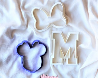 Minnie Mouse Cookie Cutter, Birthday Cookie Cutter, Disney Cookie Cutter, Baby Shower Cookie Cutter,Letter Cookie Cutter,Bow Cookie Cutter