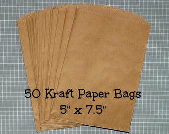 "Kraft Paper Bags (50) - 5"" x 7.5"" Merchandise Bags Packaging Wedding Favor Bags Kraft Bags Treat Bags Printable DIY Gift Bags Plain Brown"