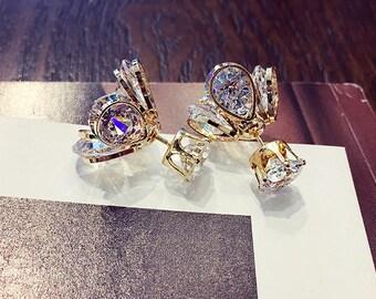 swarovski crystals sided earrings studs swarovski