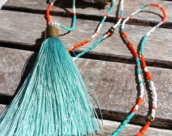 Turquoise, orange and white necklace and tassel