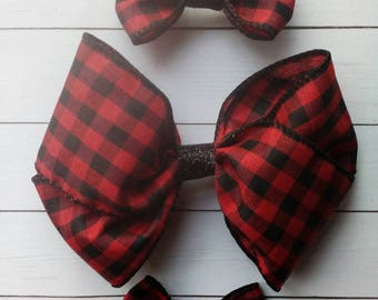 READY TO SHIP | Buffalo Plaid Hair Bows | Valentine's Day | Hair Bows | Valentine's Day Hair Bow |  Valentine's Day Bow |  Bows | Pigtail