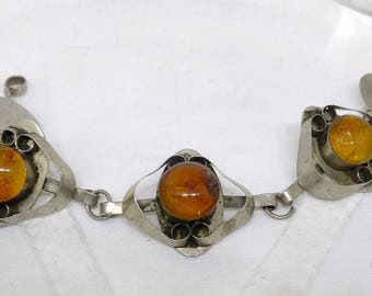 Vintage 1960's Modernist Raw Baltic Amber And Studio Made Metal Chain Link Bracelet