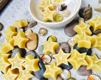 Beeswax floating mini stars-set of 10 birthday candles-ritual candles-altar candles-100% pure beeswax floating candles-organic beeswax stars