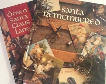 Vintage Santa Cross Stitch Books, Leisure Arts 2 Hardcover Pattern Books, Santa Remembered and Down Santa Claus Lane