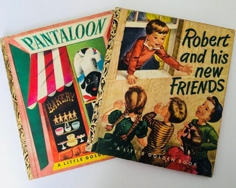 Vintage 1950s Little Golden Books, 1951 Children's Books,  Robert and his New Friends and Pantaloon