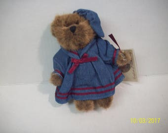 """Vintage Teddy Bear Russ Vintage Collection Penelope  Girl Bear In Blue Dress, Hat  5.75"""" Tall  New With Tags Great Valentine's Gift For Her"""