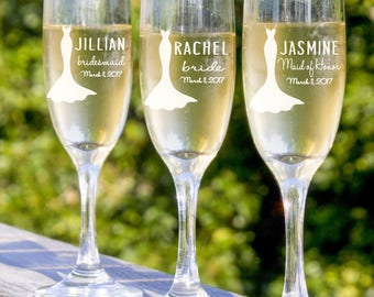 Toasting Flutes - Bridesmaids Flutes -  4 Champagne Glasses - Rehearsal Dinner - Bachelorette Party -  Be My Bridesmaid - Wedding Toast