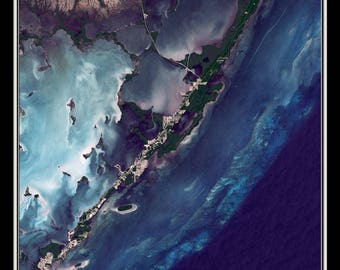 Key Largo Florida From Space Satellite Poster Map