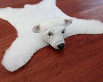Dollhouse miniature POLAR BEAR rug – OOAK