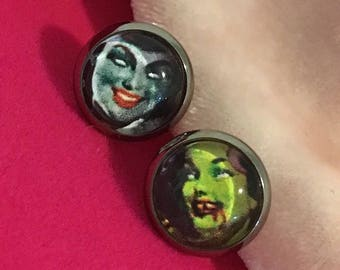 Zombie Pinup Handmade Picture Stud Earrings