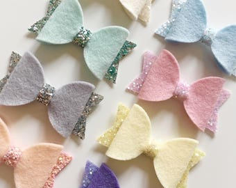 100% wool felt hair bows with glitter tails/centres - choice of colours